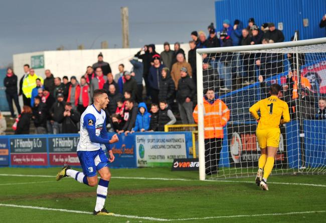 Jacob Blyth celebrates his first goal for Barrow AFC against Salford City