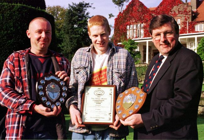 Prizes: Graythwaite Manor staff with awards from Grange in Bloom and Cumbria in Bloom in October 1999