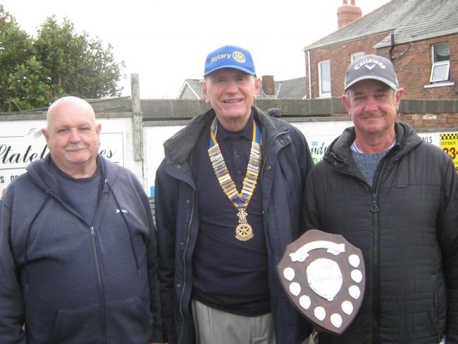 Barrow Rotary Club bowls competition winner Billy Harding (middle)