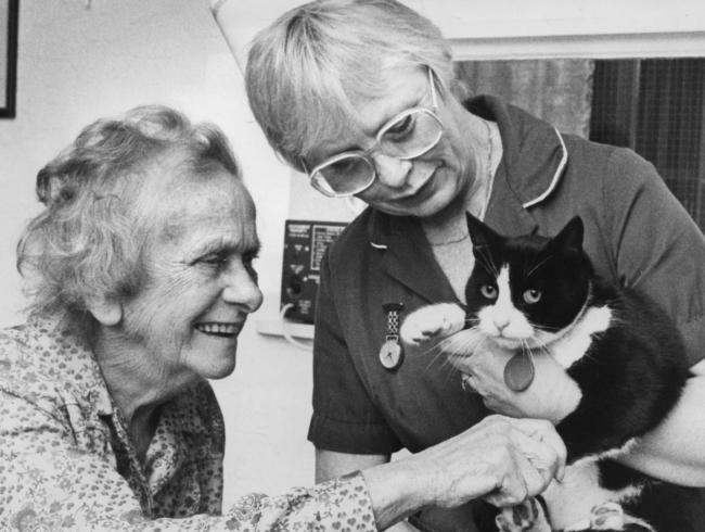 FRIENDS Dolly Shackley and Sister  Pat Longden with Syrup  at Ulverston Hospital in 1989.